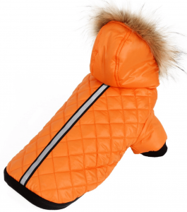 Oranje hondenjas met capuchon